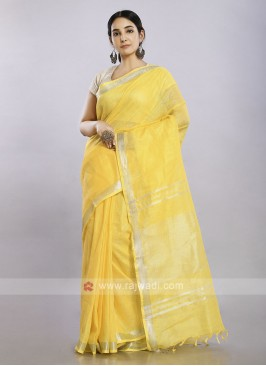 Golden yellow plain casual saree