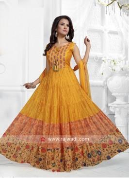 Golden Yellow Printed Anarkali Dress