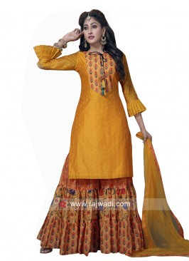 Golden Yellow Printed Gharara Suit