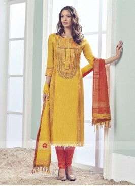 Golden Yellow Resham Work Salwar Suit