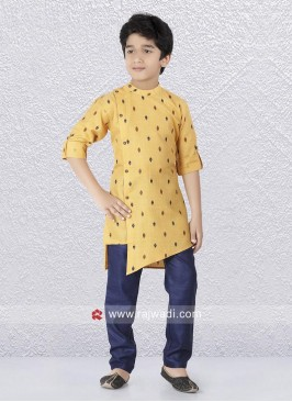 Golden Yellow Round Neck Kurta Set