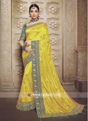 Golden yellow saree with blouse