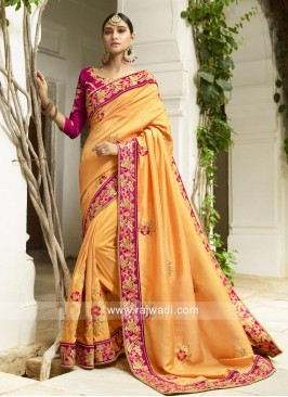 Golden Yellow Sari with Embroidered Border