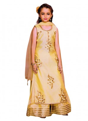 Golden Yellow Silk Palazzo Suit
