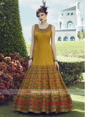 Golden Yellow Stitched Anarkali Suit