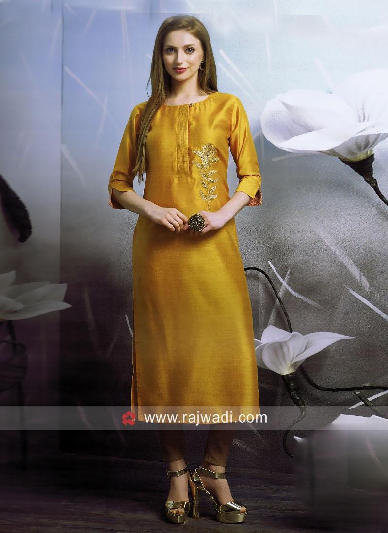 Dressline Golden Yellow Straight Fit Kurti
