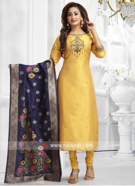 Golden Yellow Straight Fit Salwar Suit