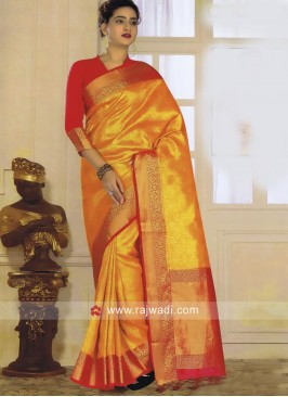 Golden Yellow Weaved Saree
