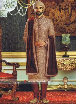 Golden Zari Work Sherwani With Stylish Stole