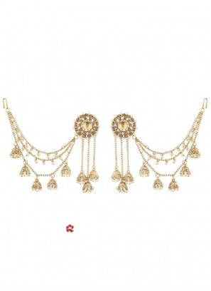 Golden Zinc Alloy Hanging Earrings