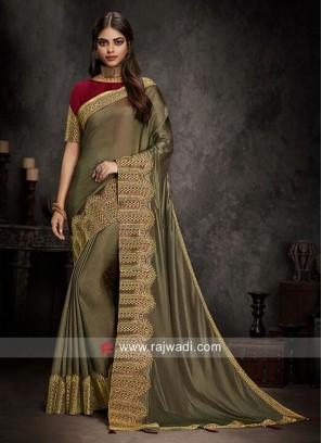 Goldenrod Art Silk Saree