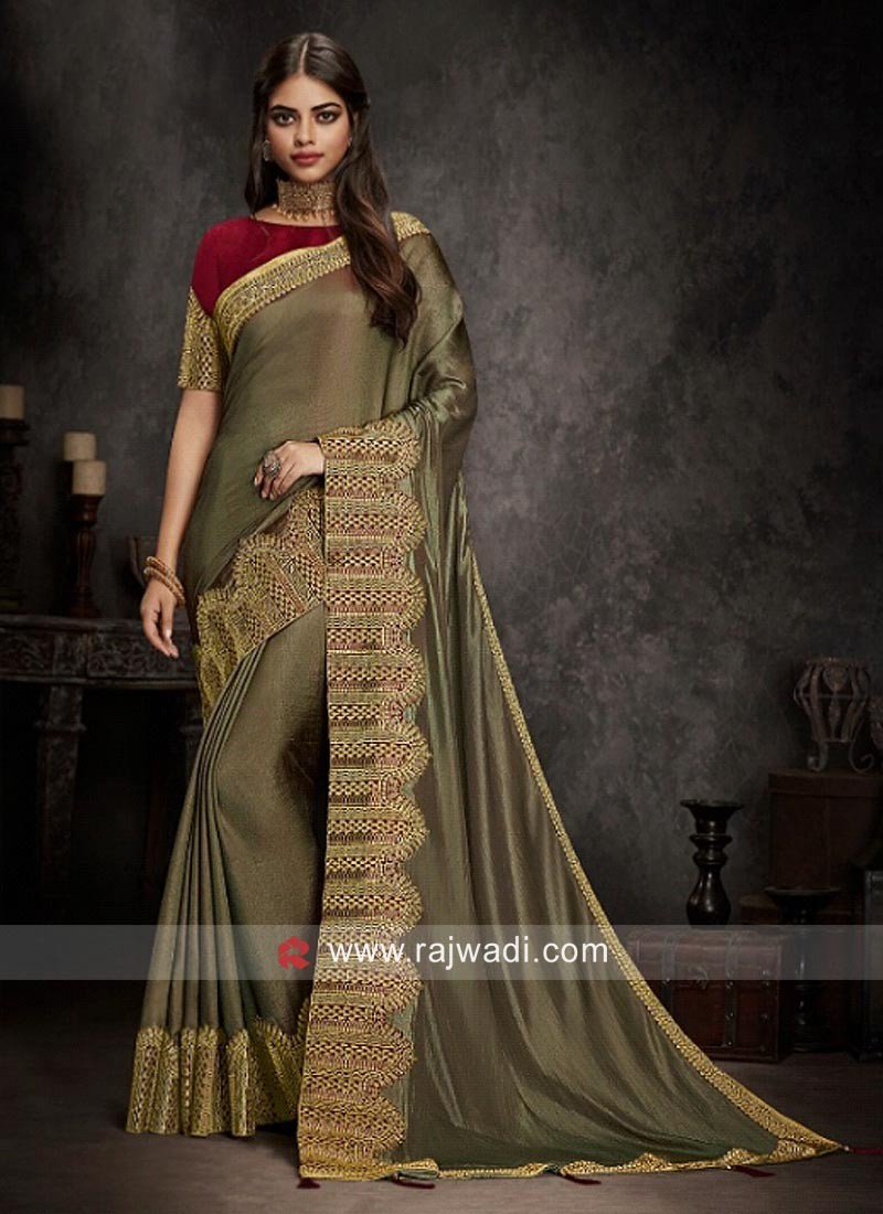 Goldenrod Art Silk Saree