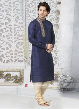 Art Silk Fabric Blue Color Kurta Pajama