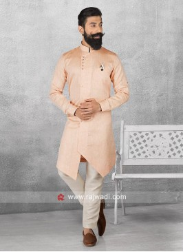 Light Orange Color Pathani For Mens
