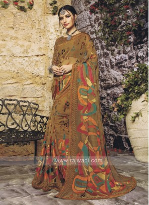 Goldenrod Color Saree