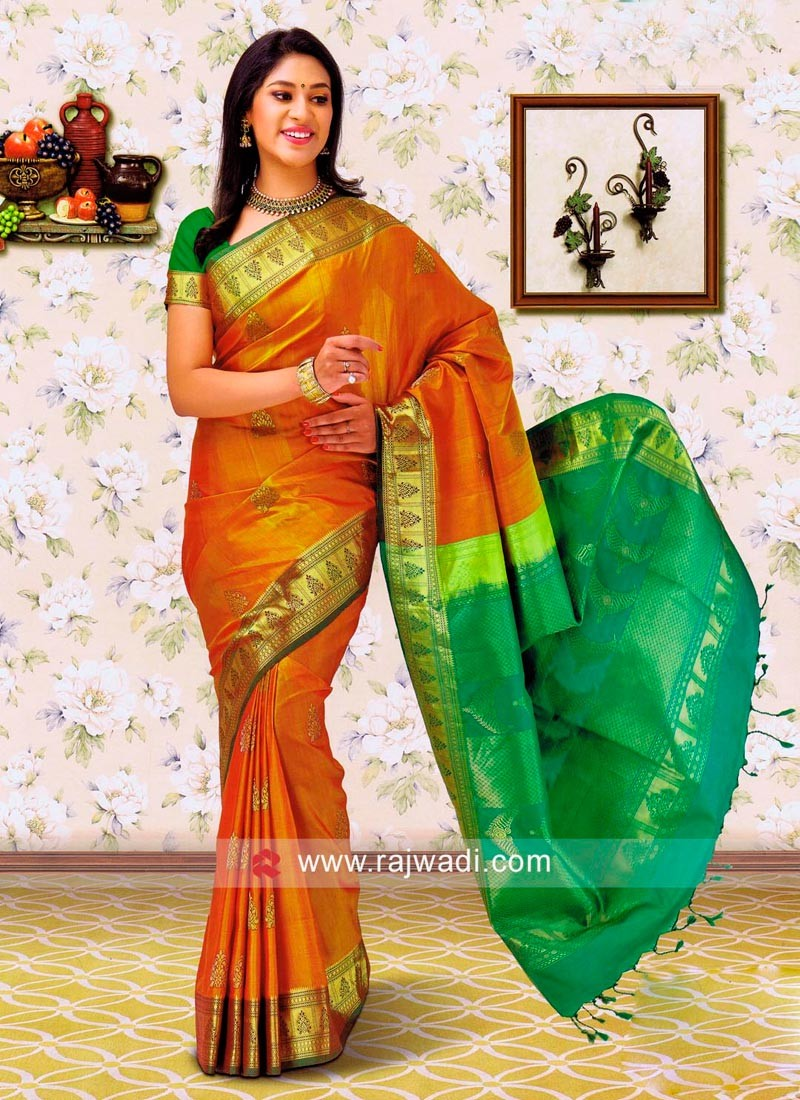 Goldenrod Silk Saree with Blouse