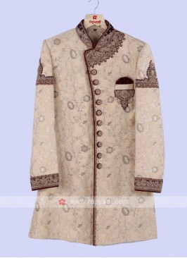 Golen And Maroon Color Sherwani