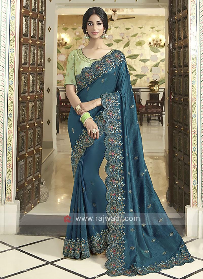 Gorgeous Art Silk Rama Blue Saree