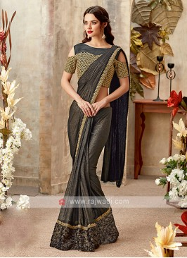 gorgeous grey color lycra saree