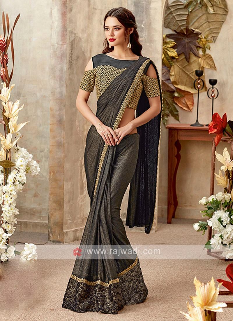 gorgeous grey color lycra saree