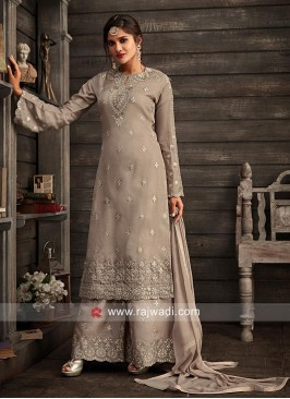 Gorgeous Grey Embroidered Gharara Suit