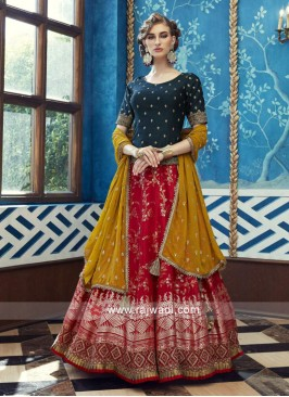 Gorgeous pink and dark green lehenga choli