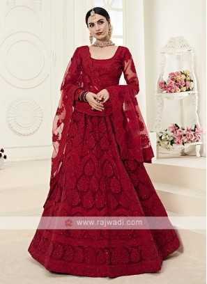 gorgeous red color lehenga choli