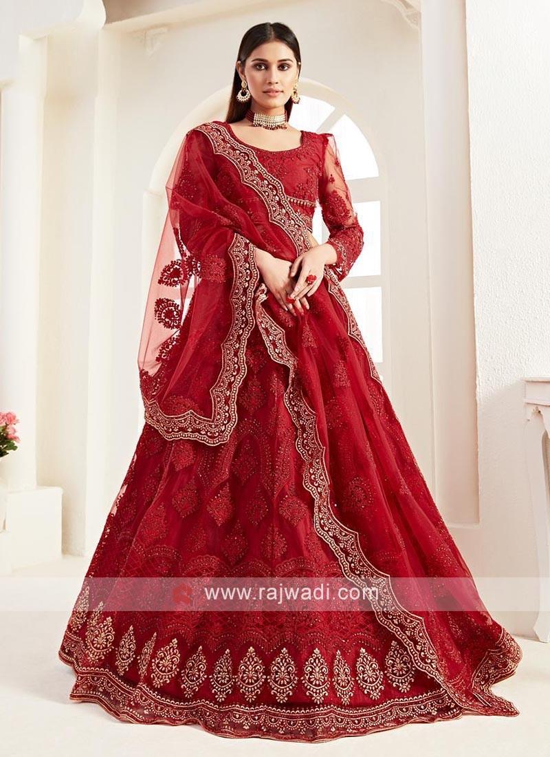 Gorgeous Red Net Lehenga Choli
