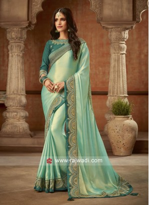 Gorgeous Sea Green Tissue Saree