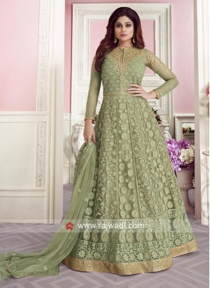 Gorgeous Shamita Shetty in Sea Green Floor Length Anarkali Dress