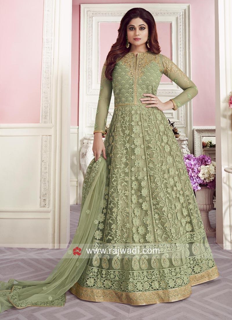 Gorgeous Shamita Shetty in Sea Green Floor Length Anarkali Dress