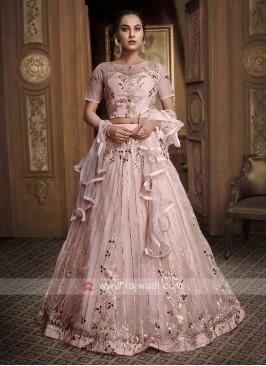Gota Patti Net Lehenga Choli In Light Pink
