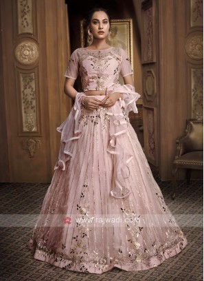 Gota Patti Net Lehenga Choli In Light Pink