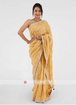Gota Patti Shimmer Silk Yellow Saree