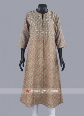 Gota Patti Work Kurti with Buttons
