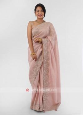 Gota Patti Work Light Pink Saree