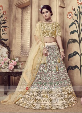 Graceful Beige Lehenga Choli for Wedding