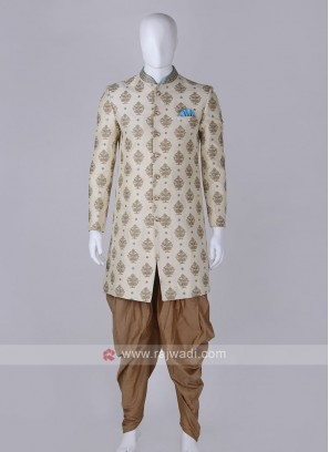 Graceful cream and golden sherwani