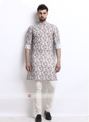 Graceful flower printed sky blue kurta