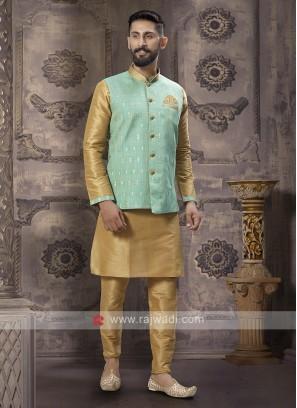 Graceful Golden And Sea Green Nehru Jacket
