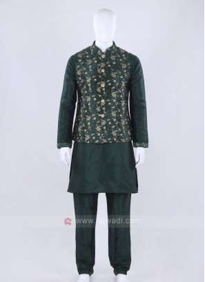 Graceful green color nehru jacket