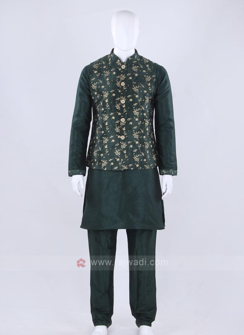 Graceful green color nehru jacket