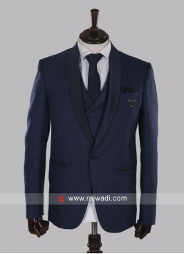 Graceful imported fabric blue suit