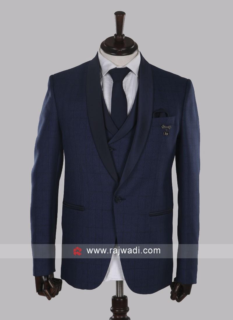 Graceful imported fabric blue suit
