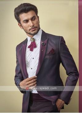 graceful imported fabric purple color suit