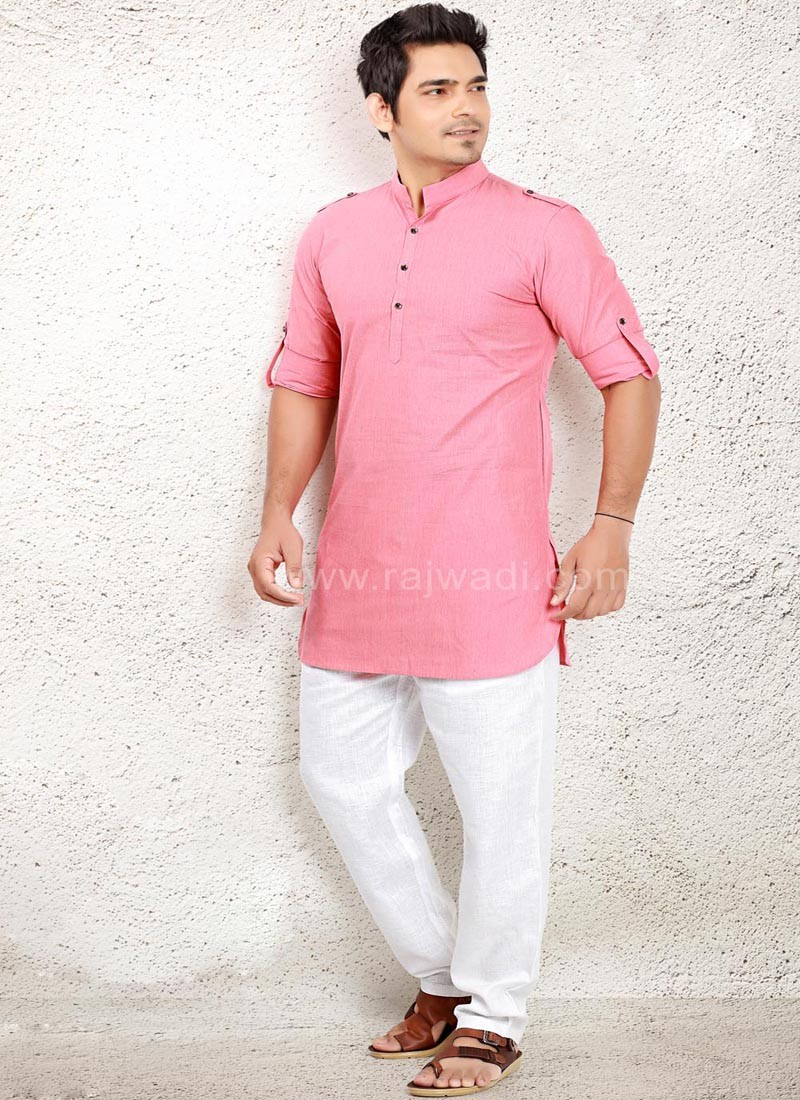 Graceful Light Pink Pathani Suit