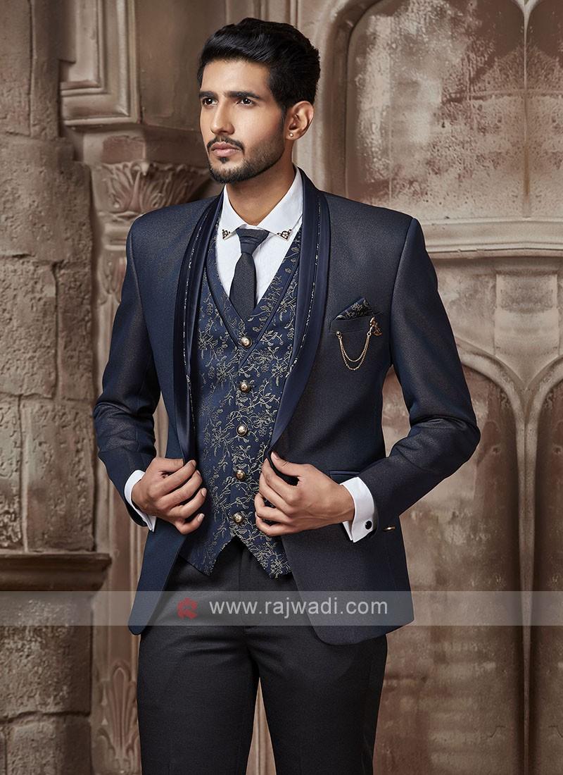 graceful navy blue suit