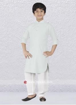 Graceful White Pathani Suit
