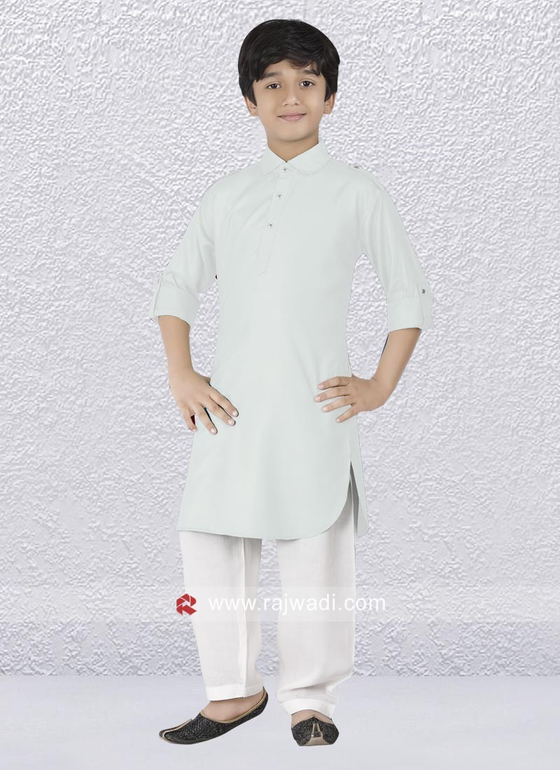 Graceful White Pathani Suit