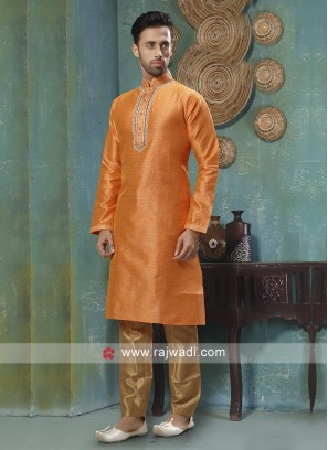 Graceful Orange And Golden Kurta Pajama
